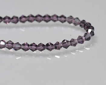 "Faceted Bicone Amethyst Blend Crystal Beads 3x3 | Sold by 1 Strand(12"") 