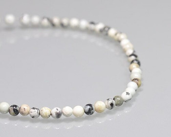"Round White & Black Marble Beads 4mm | Sold by 1 Strand(8"") 