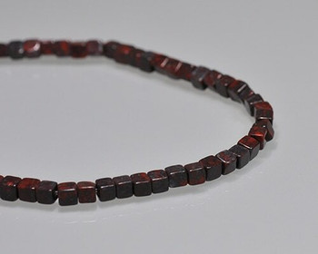 "Cube Dark Red Brecciated Jasper Beads 4-4.5mm | Sold by 1 Strand(8"") 