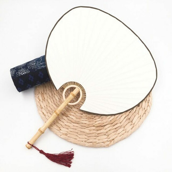 Rice Paper Fan | Natural Bamboo (Red Tassle) | FFP06R