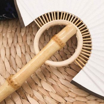 Rice Paper Fan   Natural Bamboo (Red Tassle)   FFP06R