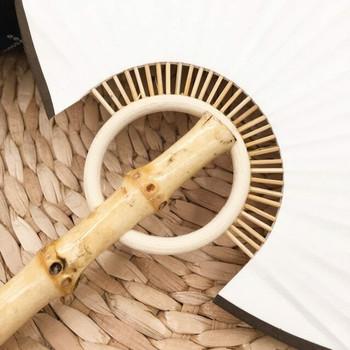 Rice Paper Fan   Natural Bamboo (Brown Tassle)   FFP06B