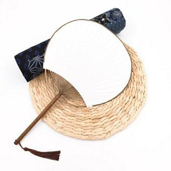 Rice Paper Fan   Natural Purple Bamboo   FFP07