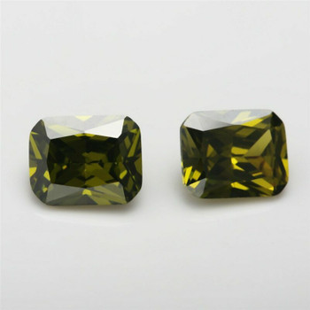 5A Olive Green CZ | Rectangular Faceted | H1903B