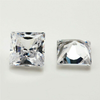 5A Bright White CZ | Square Faceted | 8mm | H190332
