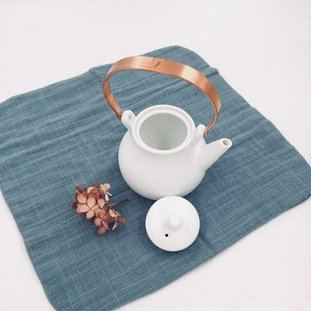 White Teapot with Copper Handle | H190644