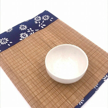 "Bamboo Tea Mat with Fabric Edges | 24 x 12"" | TWA66"
