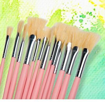 Hog Bristle Fan Brushes | Sizes 0-12 | H2006C