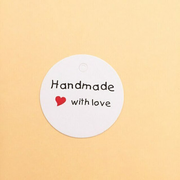 "30% OFF was $4.80 | White Circle Labels | ""Handmade with Love"" 