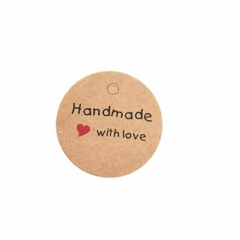 "30% OFF was $4.80 | Brown Circle Labels | ""Handmade with Love"" 