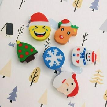 Christmas Erasers   Set of 6   H201308