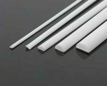 ABS Plastic Rod | Half-round | 1x2x250mm | Sold by Pc | AM0091
