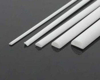 ABS Plastic Rod | Half-round | 2x4x250mm | Sold by Pc | AM0092
