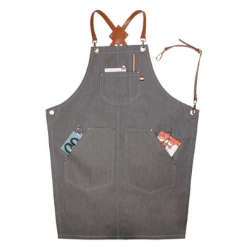 Artist's Multitask Light Grey Jean Apron | Simple Pockets | H192408