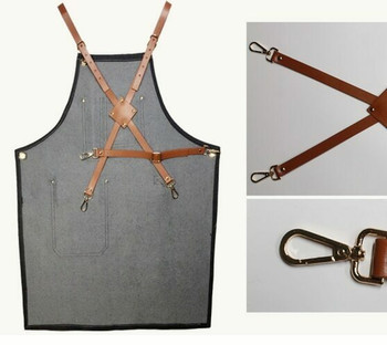 Artist's Multitask Grey Jean Apron | Leather Straps | H192409
