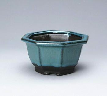Blue Hexagon Plant Pot | 10 x 10 x 5.5 cm | H198101