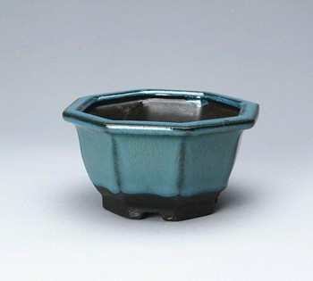Blue Hexagon Plant Pot | 10 x 10 x 5.5 cm | H198101