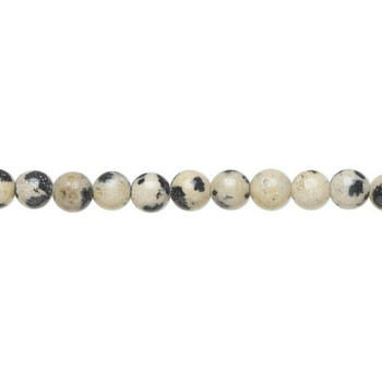 "Dalmation Jasper 4mm Round Beads | Sold by 8"" Strand 
