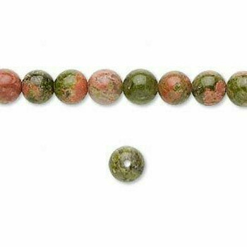 """Red & Green Unakite 6mm Round Beads 