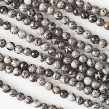 """Silver Crazy Lace Agate 4mm Round Beads 