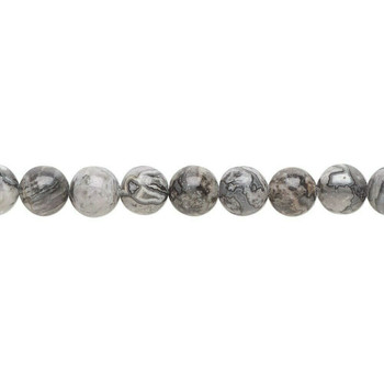 "Silver Crazy Lace Agate 8mm Round Beads | Sold by 7.5"" Strand 