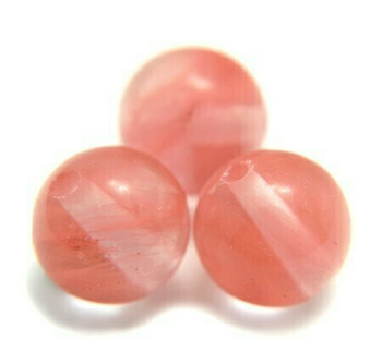 "Cherry Quartz 10mm Round Beads | Sold by 8"" Strand 