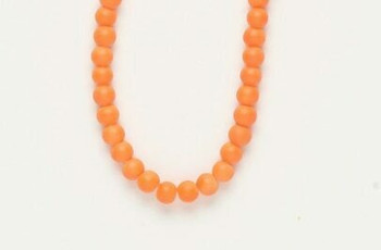 "Bead  rubber-coated glass opaque neon orange | 5mm | round | Sold By 1 Strand(16"") 
