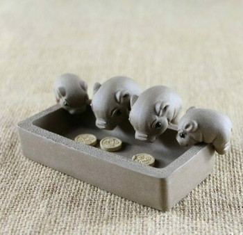 Yixing Tea Pet | Drinking Pig Family | H204403