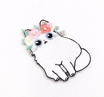 """""""White Cat"""" Iron-on Embroidery Patch 