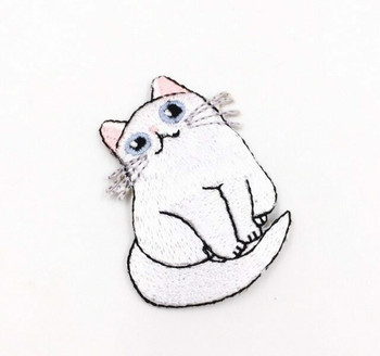 """White Cat"" Iron-on Embroidery Patch 