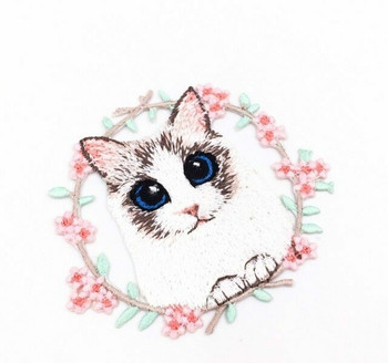 Iron-on Embroidery Patch | Cat & Floral Wreath | EP028