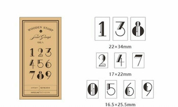 Infeel.me Journal Stamp with Wooden Handle Number Set of 10 | 6921345222831