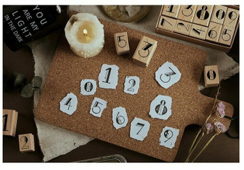 Infeel.me Journal Stamp with Wooden Handle Number Set of 10