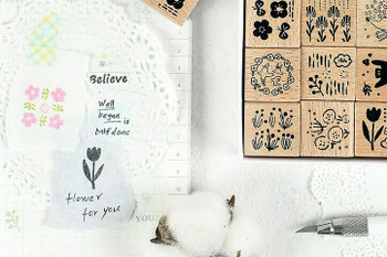 Infeel.me Journal Stamp with Wooden Handle | Floral Set of 12 | 6921345244727