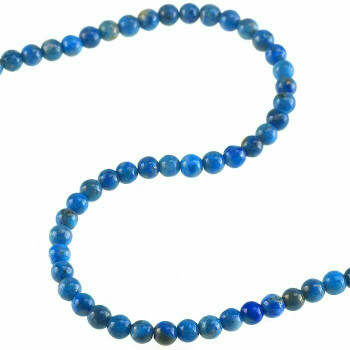 "Denim Lapis 3mm Round Bead 7"" Strand 