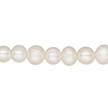"Cultured freshwater (bleached) | White |  7-8mm | semi-round | Sold By 1 Strand(16"") 