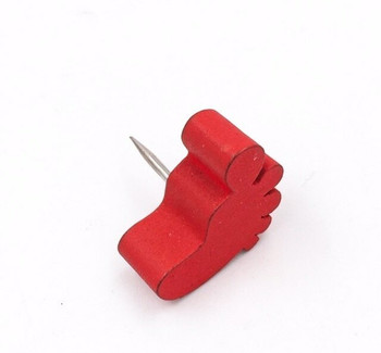 Red Wooden Foot Push Pins | Box of 25 | H198215