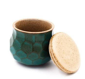 Green Faceted Ceramic Tea Jar | 145ml | TWJ05
