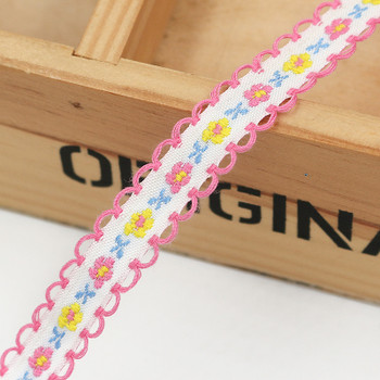 White Floral Tape Ribbon | Pink Edge | Sold by metre | H20201131