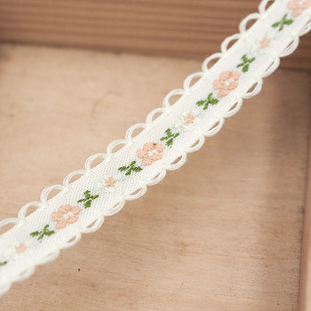 White Floral Tape Ribbon | Cream Edge | Sold by metre | H20201132