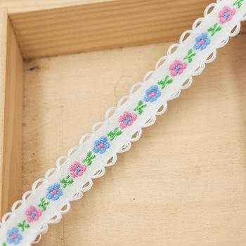 White Floral Tape Ribbon | White Edge | Sold by metre | H20201133
