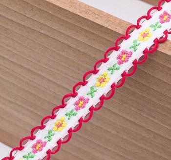 White Floral Tape Ribbon | Magenta Edge | Sold by metre | H20201135