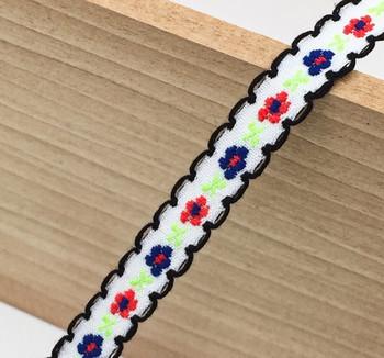 White Floral Tape Ribbon | Black Edge | Sold by metre | H20201136