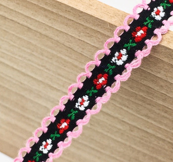 Black Floral Tape Ribbon | Pink Edge | Sold by metre | H20201138