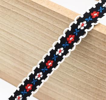 Black Floral Tape Ribbon | White Edge | Sold by metre | H20201140