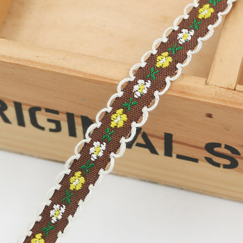 Brown Floral Tape Ribbon | Yellow Flowers | Sold by metre | H20201141