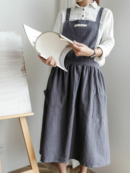 Washed Cotton Apron | Charcoal Gray | H20201021