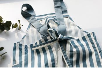 Blue Cotton Apron | Stripes | H20201027