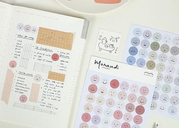 Papermore Morandi Smiley Stickers   2 Sheets   6921345259950