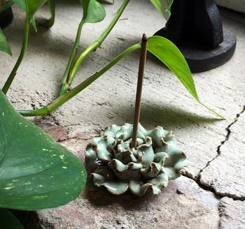 Flower Incense Holder | Small Celadon Peony | H20201373